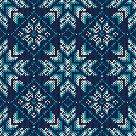 knitted: Seamless Knitted Pattern. Fair Isle Style Knitting Sweater Design. Vector Knitted Texture