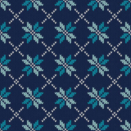 fair isle: Seamless Knitted Pattern. Fair Isle Style Knitting Sweater Design. Vector Knitted Texture