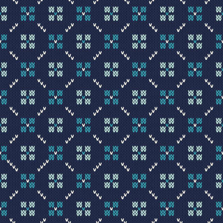 isle: Seamless Knitted Pattern. Fair Isle Style Knitting Sweater Design. Vector Knitted Texture