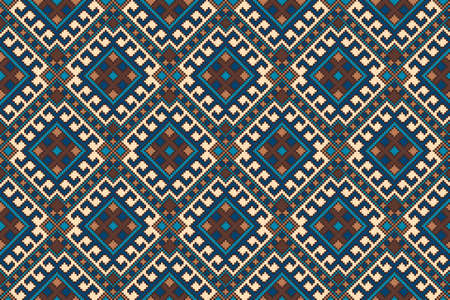 Tribal Aztec Style Seamless Geometric Pattern. Abstract Fabric Design. Vector Pixel Pattern