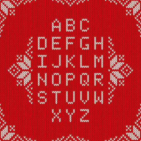 Christmas Knitted Font. Nordic Fair Isle Knitting Sweater Design. Knitted Latin Alphabet on Seamless Background