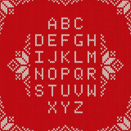 Weihnachten gestrickter Schriftart. Nordic Fair Isle Stricken Pullover-Design. Gestrickte lateinische Alphabet auf nahtlose Hintergrund
