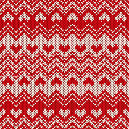fair isle: Fair Isle Style Knitted Sweater Design with Hearts. Seamless Knitting Pattern.