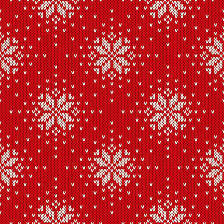 Winter Holiday Knitted Pattern with Snowflakes. Seamless Vector Knitting Background
