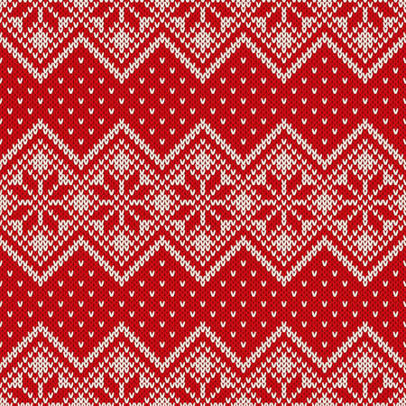 Winter Holiday Seamless Knitting Pattern With Snowflakes Knitted