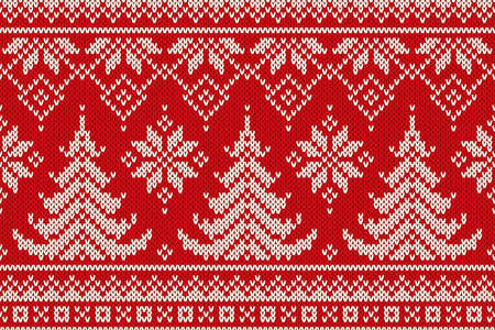 Winter Holiday Seamless Knitting Pattern With A Christmas Trees