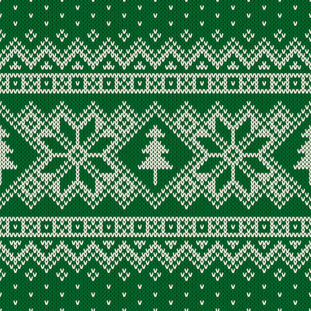 Winter Holiday Seamless Knitting Pattern with a Christmas Trees. Knitting Sweater Design. Wool Knitted Texture 向量圖像