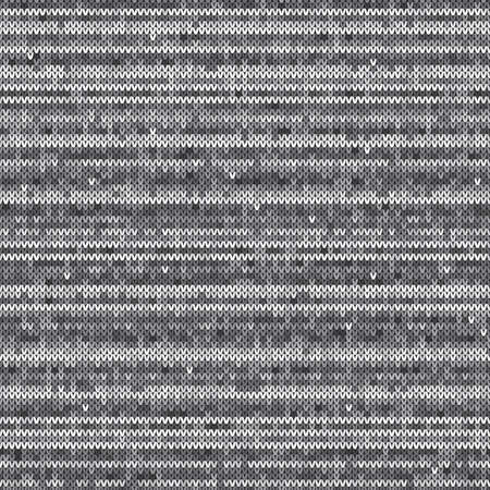 Knitted Wool Sweater Pattern Vector Imitation. Seamless Background with Shades of Gray Colors Illustration