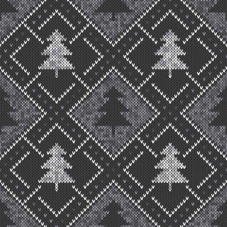christmas tree illustration: Seamless Pattern on the Wool Knitted Texture. EPS available