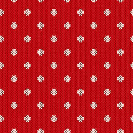 winter fashion: Polka Dot Seamless Knitted Pattern. Winter Holiday Knitting Sweater Design