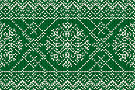 Winter Holiday Seamless Knitted Pattern with Snowflakes. Knitting Sweater Design. Wool Knitted Texture