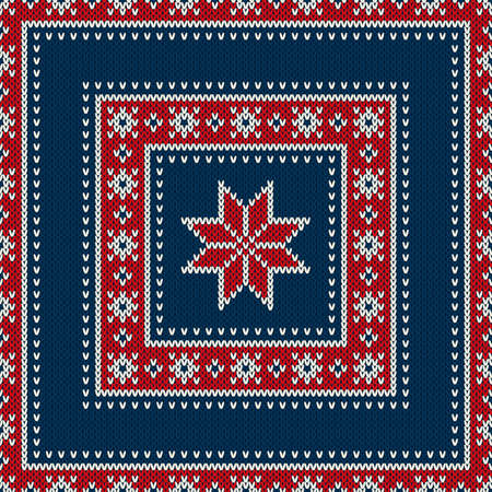 patchwork: Winter Holiday Seamless Knitted Wool Texture Pattern with a Snowflake. Knitting Sweater Design