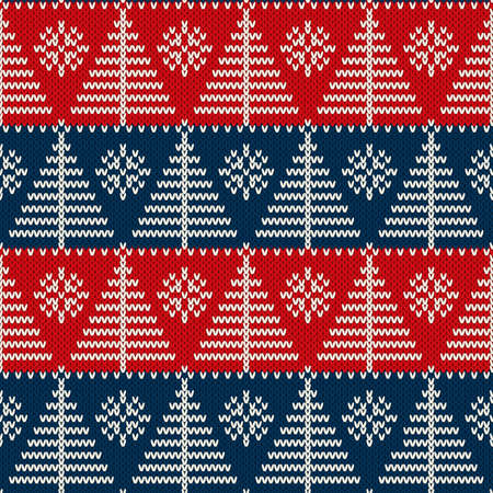 Winter Holiday Seamless Knitted Pattern with a Christmas Trees and Snowflakes. Wool Knitting Sweater Design Ilustração
