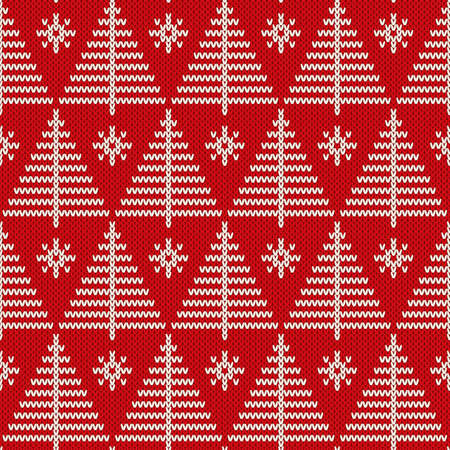 Winter holiday seamless knitted pattern with a Christmas trees. Knitting sweater design vector illustration.