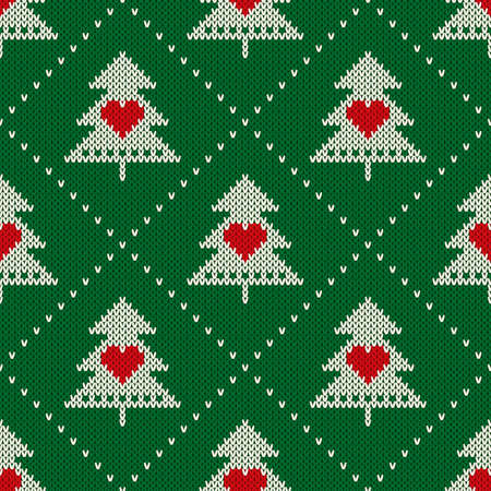 Winter Holiday Seamless Knit Pattern with Christmas Trees and Hearts. Scheme for Knitted Sweater Pattern Design or Cross Stitch Embroidery.
