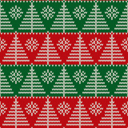 Winter Holiday Seamless Pixel Pattern with Christmas Tree and Snowflakes. Scheme for Knitted Sweater Pattern Design or Cross Stitch Embroidery.