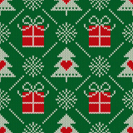 Christmas Seamless Knit Pattern with  Holiday Symbols: Christmas Trees, Snowflakes and Present Boxes. Scheme for Knitted Sweater Pattern Design or Cross Stitch Embroidery.