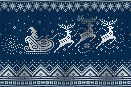 Santa Claus Rides Reindeer Sleigh Silhouette. Winter Holiday Seamless Knitted Pattern. Knitting Wool Sweater Design
