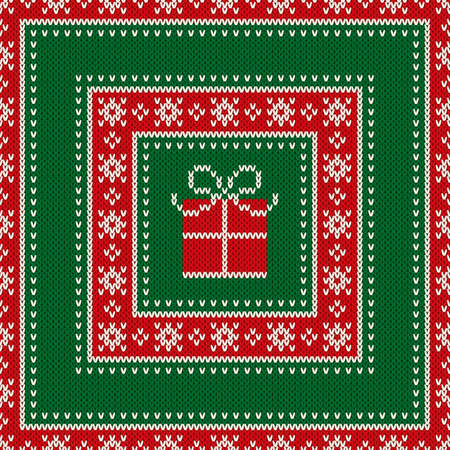 checked: Christmas Holiday Seamless Knitted Pattern with a Present Box. Knitting Wool Sweater Design