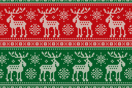 Christmas Seamless Pixel Pattern with with Elks and Snowflakes. Scheme for Cross Stitch Embroidery and Knitted Sweater Pattern Design