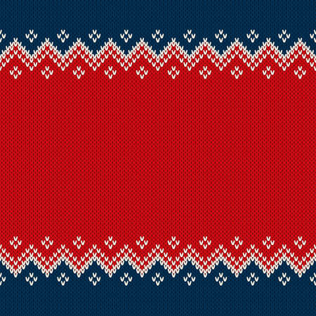 Christmas and New Year Design Knitted Background with a Place for Text.