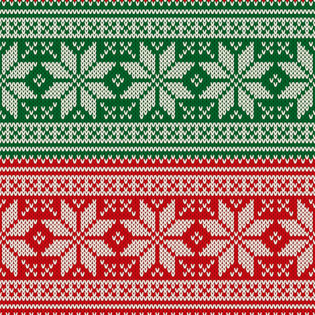 Traditional Christmas Seamless Knitted Pattern with Snowflakes. Christmas and New Year Design Background. Knitting Sweater Design Ilustração
