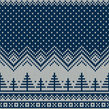 Knitted Sweater Design with Christmas Trees in Winter Night Landscape. Holiday Seamless Knit Pattern