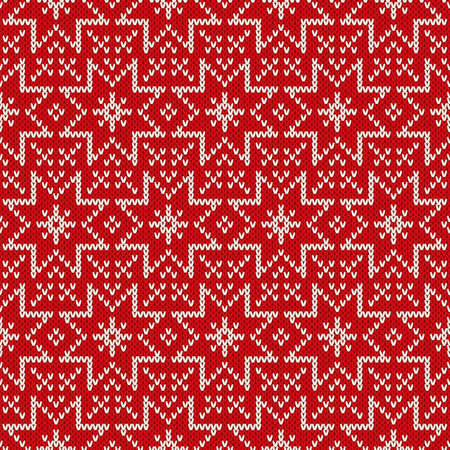 Christmas Seamless Knitted Pattern. Scheme for Knitting Sweater Design or Cross Stitch Embroidery Ilustração