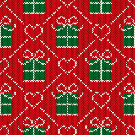 Christmas Seamless Knitted Pattern with a Holiday Present Box. Wool Knitting Sweater Design