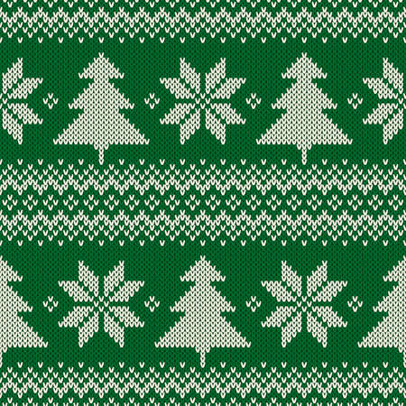 Winter Holiday Seamless Knit Pattern with Christmas Trees and Snowflakes. Scheme for Knitted Sweater Pattern Design or Cross Stitch Embroidery Illustration