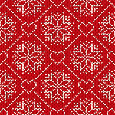 Christmas Holiday Knitted Pattern With Snowflakes And Hearts