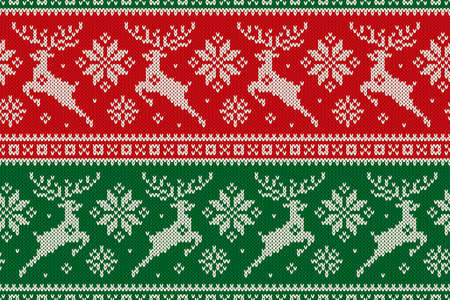 Christmas Seamless Knit Pattern with with Reindeer and Snowflakes. Scheme for Cross Stitch Embroidery and Knitted Sweater Pattern Design. Illustration