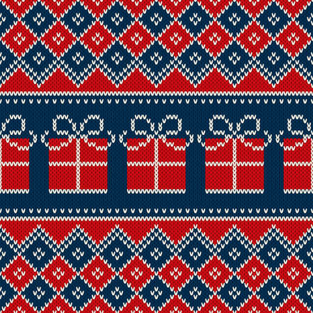 Christmas Holiday Seamless Knitted Pattern with Present Box. Knitting Wool Sweater Pattern Design. Illustration