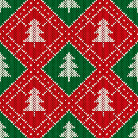 Christmas Seamless Knitted Pattern with a Christmas Trees. Knitting Sweater Design. Wool Knitted Texture Imitation.