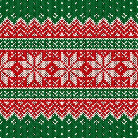 Traditional Christmas Knitting Wool Sweater Design. Wool Knit Texture Imitation. Scheme for Knitted Sweater Pattern Design or Cross Stitch Embroidery.  イラスト・ベクター素材