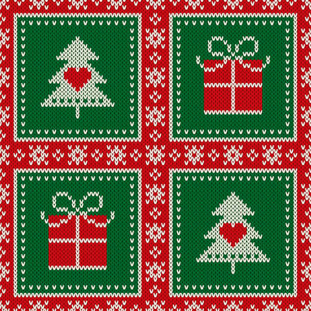 Christmas seamless knit pattern with holiday symbols: Present box and Christmas tree. Scheme for wool knitted sweater pattern design or cross stitch embroidery. 일러스트