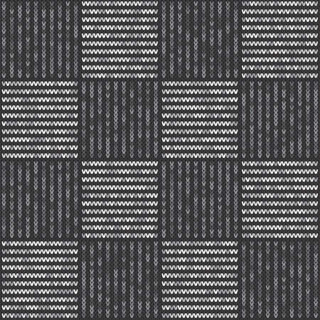 Abstract knitted pattern vector seamless background with shades of gray colors. Knitting wool sweater design. Vettoriali