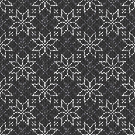 Knitted sweater pattern seamless vector background with shades of gray colors. Knitting wool texture imitation.