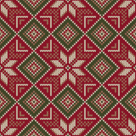 Christmas Holiday Seamless Knitted Pattern. Scheme for Knitting Sweater Pattern Design and Cross Stitch Embroidery. Wool Knit Texture Imitation. Illustration