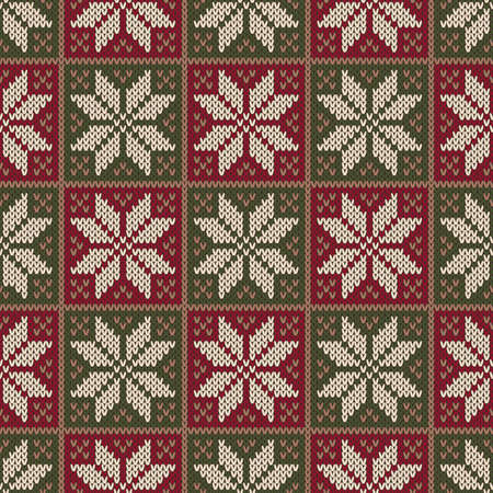 Traditional Winter Holiday Seamless Knitting Pattern. Christmas Knitted Sweater Design. Wool Knit Texture Imitation. Ilustração