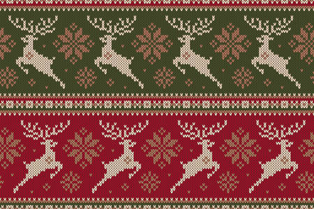 Winter Holiday Sweater With Reindeer And Snowflakes Seamless