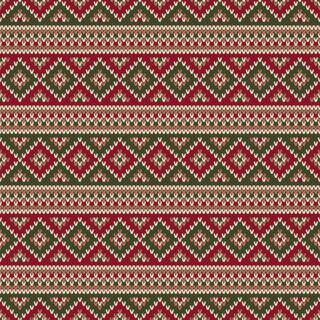 Traditional Fair Isle Style Knitted Pattern Christmas And New