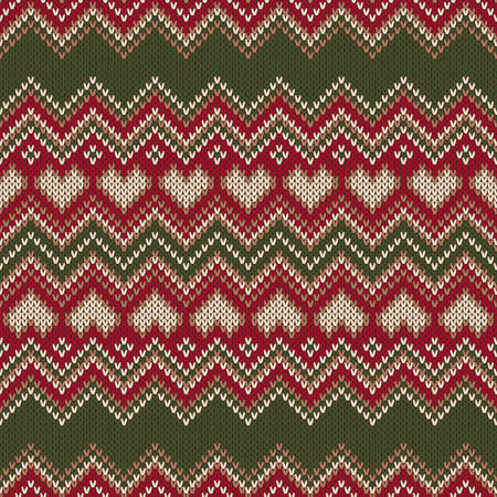 Valentines Day Holiday Seamless Knit Pattern With Hearts Scheme