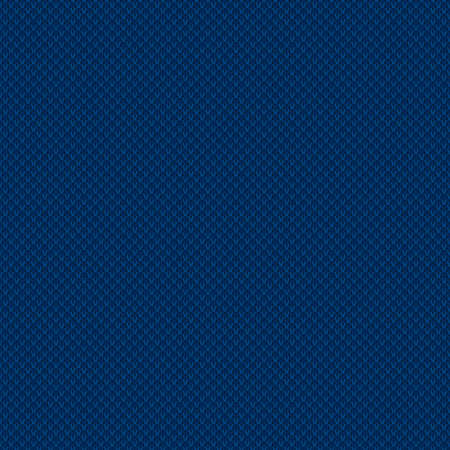 Abstract Checkered Knitting Pattern in Shades of Blue Colors. Seamless Vector Background.