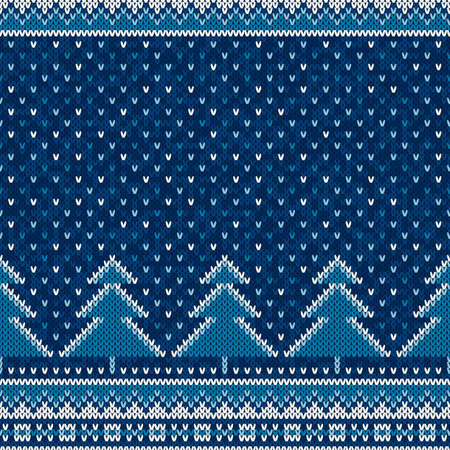 Winter Holiday Seamless Knit Pattern with Christmas Trees. Scheme for Knitted Sweater Pattern Design or Cross Stitch Embroidery.