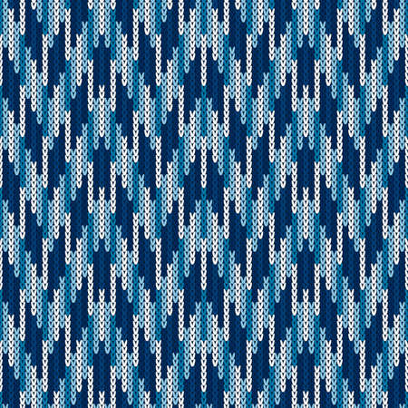 Camouflage Style Abstract Knitted Pattern. Seamless Knitting Texture with Shades of Blue Colo. Illustration