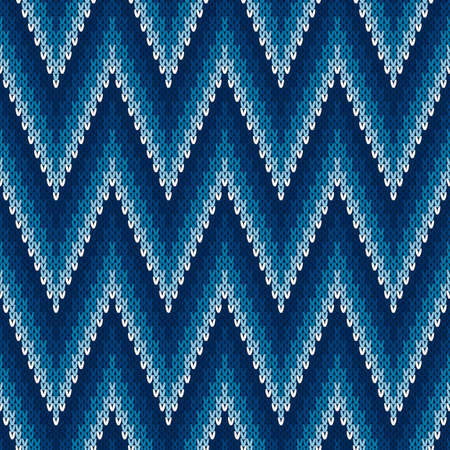 Chevron Abstract Knitted Sweater Pattern. Vector Seamless Background with Shades of Blue Colors. Wool Knit Texture Imitation.