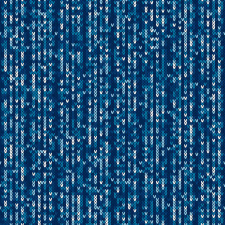 Camouflage Style Knitted Pattern. Seamless Knitting Texture with Shades of Blue Colors.