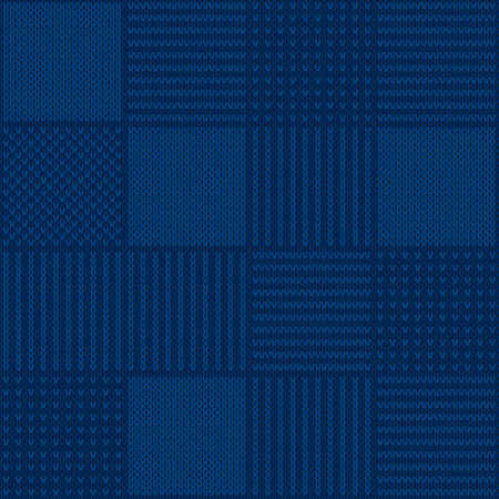 Abstract Checkered Knitted Sweater Pattern. Vector Seamless Background with Shades of Blue Colors. Wool Knit Texture Imitation. Illustration