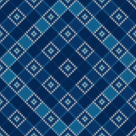 Argyle Knitting Pattern. Seamless Wool Knit Texture with Shades of Blue Colors. Illustration